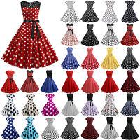 Women's 50s Rockabilly Pinup Dresses Formal Lady Polka Dot Swing Dress Plus Size