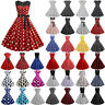 Women's 50s Rockabilly Pinup Dresses Formal Lady Polka Dot Swing Dress Plus Size