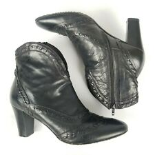 Sesto Meucci Black Leather Western Booties Size 9