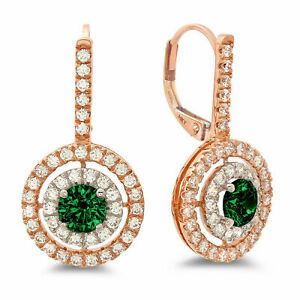 2.4ct Round Halo Simulated Emerald 18k White Pink Gold Earrings Lever Back