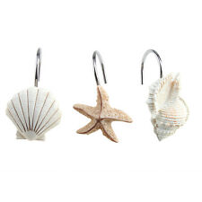 NEW 12 PCS DECORATIVE Seashell Shower Curtain Hooks Bathroom Beach Shell Decor