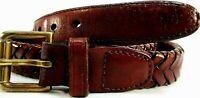 "Ralph Lauren Men Laced Leather Belt Size 32 Brown 36"" Long 1"" Wide Brass Buckle"