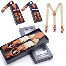 Men Genuine Leather Suspenders Button Braces 3 Clips Fashion Suspender Male Gift