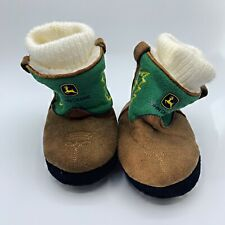 John Deere Infant Baby Boots Faux Suede Leather Booties Slippers Sz XS (3-4)
