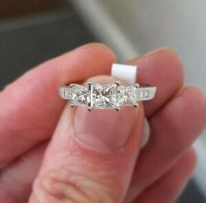 Platinum Princess Cut 3 Stone Diamond Ring.