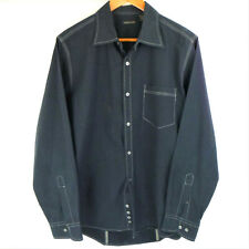 Structure Men's Button Down Long Sleeve Shirt Black W/Gray Sticthing M 15-15 1/2