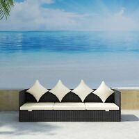 Rattan Sofa Garden Outdoor Patio Wicker Cushioned Sun Lounger Day-Bed Durable US