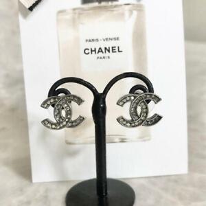 Chanel Earrings CC Logo Black Silver Rhinestone 06P 202