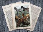 ANTIQUE HORSE ART PRINT Buffon's Natural History Print Book Pages Ephemera
