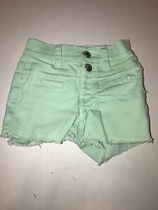 Girls Justice Pastel Green Denim Shorts - Size 5