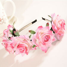 1pc Pink Rose Flower Headband Women Festival Wedding Garland Hairband Party