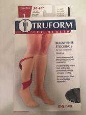 TRUFORM 30-40 mmHg Compression Below Knee Stockings Closed Toe Large Black New