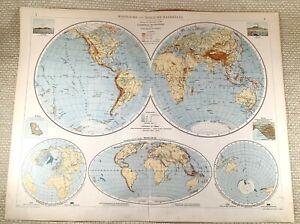 1906 Antique Map of The World Western Eastern Hemisphere Globe LARGE GERMAN