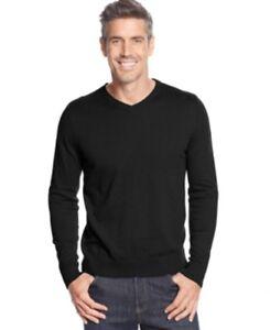 John Ashford Deep Black Mens Size S, M, L & XL,V-neck Pullover Sweater $75.00