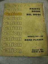 Galion Rp 30 Road Planer Grader Parts Book List Manual