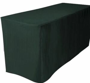 6' ft. Fitted Polyester Table Cover Trade show Booth Dj Tablecloth Hunter Green