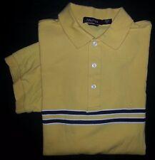 2256s Yellow White Navy Stripe XL NAUTICA S/S Cotton Casual Golf Polo!