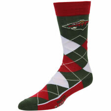 Minnesota Wild Men's Crew Socks One Size Fits Most Argyle Lineup