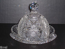 ABP CRYSTAL DEEP CUT BUTTER / CHEESE DISH with DOME  American Brilliant Period
