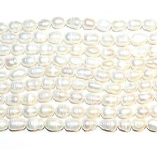 """NP291 White 8mm - 10mm Cultured Freshwater Pearl Gemstone Rice Beads 14"""""""