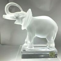Superb Vintage Lalique France Frosted Crystal Lucky Trunk Up Elephant Figurine