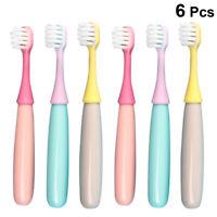 6pcs Safe Mushroom Children Toothbrush Oral Care Brush Baby Training Brushes