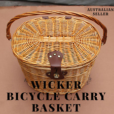 Outdoor Bicycle Basket Environmentally Friendly Rattan Willow Hand Woven Basket