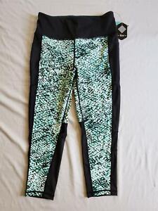 Rise By LuLaRoe Women's High Waist Cropped Pocket Leggings KB7 Black Large NWT