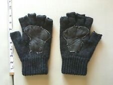Fingerless Gloves Urban Outfitters Leather Patch Acrylic Wool Black Wolfe Gray