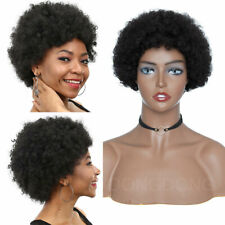 Sexy Women Ladies Short Hair Afro Kinky Curly Wigs 100% European Remy Human Hair