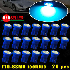 20X T10 Interior/License Plate Tag SMD Light Bulbs 8-LED Ice Blue 2825 194