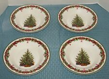 "4 Christopher Radko Holiday Celebrations Green 9 1/4"" Large Rim Soup Bowls - EXC"