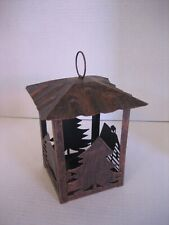 Brushed Copper Color Metal Cabin Lantern Candle Holder 8in.T. x 4 1/3in.W. Nwnt