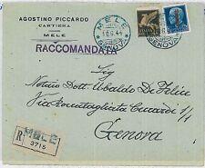 ITALIA RSI:  storia postale - BUSTA pubblicitaria MELE Genova 1944
