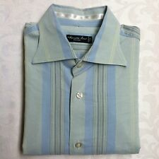 Kenneth Cole Mens Dress Shirt Medium Green Blue Stripe MADE IN ITALY EUC