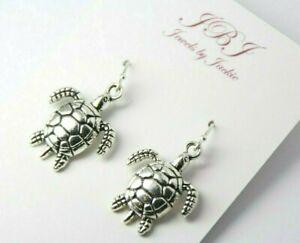 Sea Turtle Earrings Turtles .925 sterling silver earrings hooks pewter charms