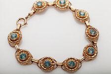 Antique 1940s RETRO $4000 8ct Natural Blue Zircon 14k Rose Gold Tennis Bracelet