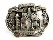 West Bend Wisconsin Belt Buckle Marked PROOF By Reward West Bend Inc