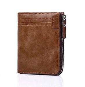 Mens RFID Blocking Bifold Leather Wallet ID Credit Card Holder Zipper Wallet