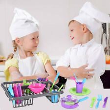 Kids Pretend Play Dishes Kitchen Playset Wash Dry Tableware Dish Rack Toy C73