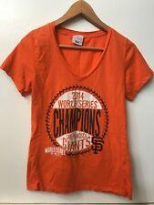 SF Giants MLB 2014 World Series Champions Womens Orange T shirt V Neck Top S