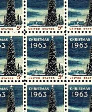 1963 - CHRISTMAS TREE - #1240 Full Mint -MNH- Sheet of 100 Postage Stamps