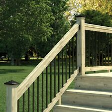 6 ft. Pressure Treated Stair Railing Kit with Black Aluminum Balusters