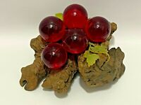 Vintage Retro Mid Century Modern Glass Lucite Cluster Red Grapes On Driftwood