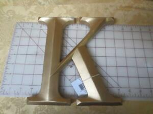"Alphabet letter alpha monogram ""K"" gold wood sign plaque 8.5  x 8 inches"