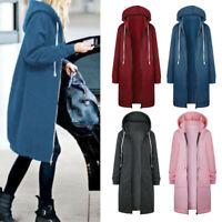 Women Winter Zipper Long Coat Hooded Sweatshirt Ladies Jacket Hoody Tops Outwear