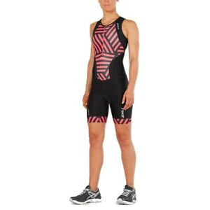New 2XU Women Perform Front Zip Trisuit Race Train Tri Triathlon Suit Small Pink