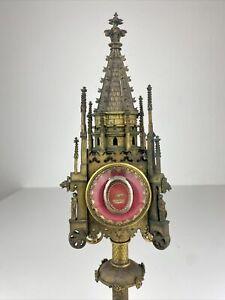 Alte Bronze Reliquien Monstranz Domspitze Kirchenturm Reliquie Antik Rarität
