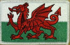 WALES FLAG Embroidered Iron-On PATCH WELSH EMBLEM UK WHITE Border #02