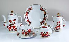 Tea set 6/22 pcs FOLK ORNAMENTS, 22K-gold,  Imperial Porcelain, Russia